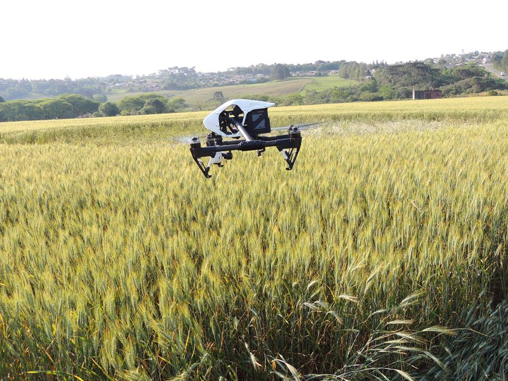 Imagem de um drone fotografando o Crop Circle.