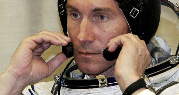 Baikonur, KAZAKHSTAN:  (FILES) Picture taken 14 April 2005, shows Russian cosmonaut Sergey Krikalev as he checks his headset at the Baikonur cosmodrome prior launch of Soyuz-TMA-6 booster rocket. Veteran Russian cosmonaut Sergei Krikalev broke the record 16 August 2005 for the longest total time in space -- and still has two months left before returning to Earth. Krikalev, who has been aboard the International Space Station (ISS) since April 15, passed the record previously held by fellow-Russian Sergei Avdeyev, who spent a career total of 747 days, 14 hours, 14 minutes and 11 seconds in space, a spokeswoman for Russian ground control told AFP. AFP PHOTO / MAXIM MARMUR  (Photo credit should read MAXIM MARMUR/AFP/Getty Images)
