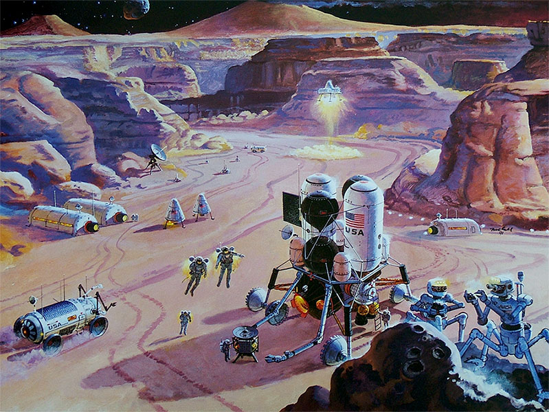 Another busy day on Mars by Robert McCall - Tô no Cosmos
