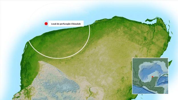 Local onde está a cratera conhecida como Chicxulub e é alvo das perfurações .